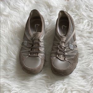 Skechers taupe slip on sneakers